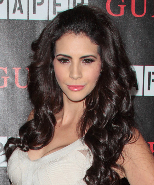 Hope Dworaczyk Long Wavy Formal   Hairstyle   - Dark Brunette - Side on View