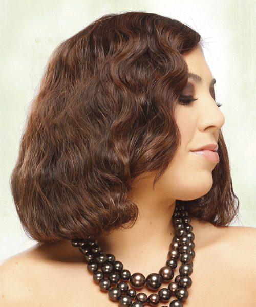 Medium Wavy    Mahogany Brunette Bob  Haircut   - Side on View