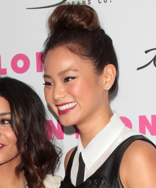 jamie chung long curly casual updo hairstyle brunette