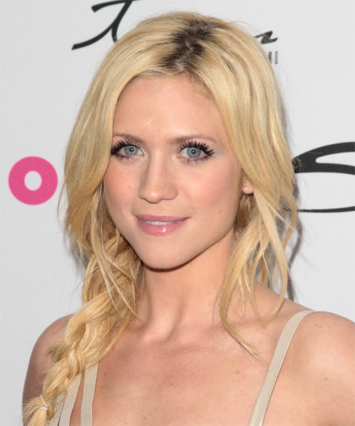 Brittany Snow  Long Curly   Light Blonde Braided Updo    - Side on View