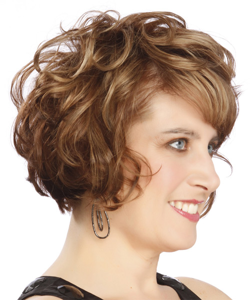 Short Curly    Chestnut Brunette   Hairstyle with Side Swept Bangs  and  Blonde Highlights - Side on View
