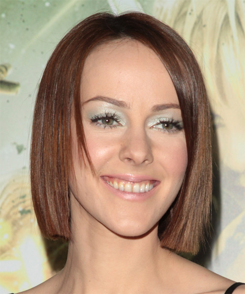 Jena Malone Medium Straight Formal Bob  Hairstyle   - Dark Brunette (Chocolate) - Side on View