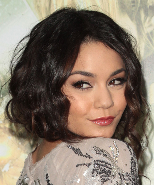 Vanessa Hudgens Medium Curly Casual   Hairstyle   - Dark Brunette - Side on View