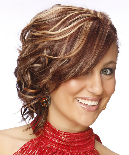 Medium Curly Formal   Updo Hairstyle   -  Mahogany Red Hair Color with Light Blonde Highlights - Side on View