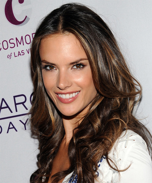 Alessandra Ambrosio Long Wavy Formal    Hairstyle   - Dark Brunette Hair Color with Dark Blonde Highlights - Side on View