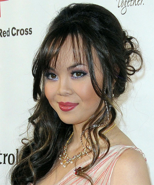 Anna Maria Perez de Tagle Half Up Long Curly Formal Wedding Half Up Hairstyle with Side Swept Bangs  - Dark Brunette - Side on View