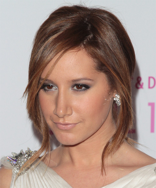 Ashley Tisdale Updo Long Straight Casual Wedding Updo Hairstyle   - Medium Brunette (Auburn) - Side on View