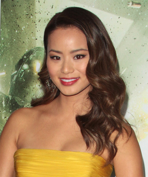 Jamie Chung Long Wavy    Chocolate Brunette   Hairstyle   - Side on View