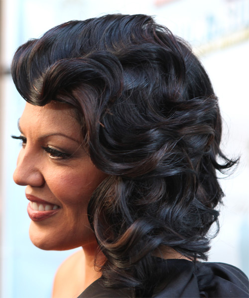 Sara Ramirez Medium Wavy Formal   Hairstyle with Side Swept Bangs  - Black - Side on View