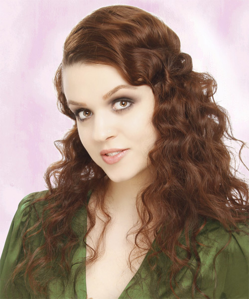 Long Curly Casual   Hairstyle   - Medium Brunette (Auburn) - Side on View