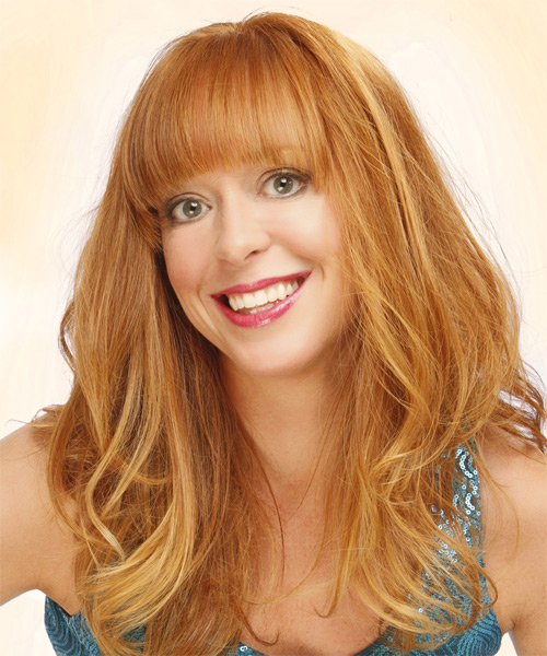 Long Straight Casual   Hairstyle with Blunt Cut Bangs  - Light Red (Ginger) - Side on View