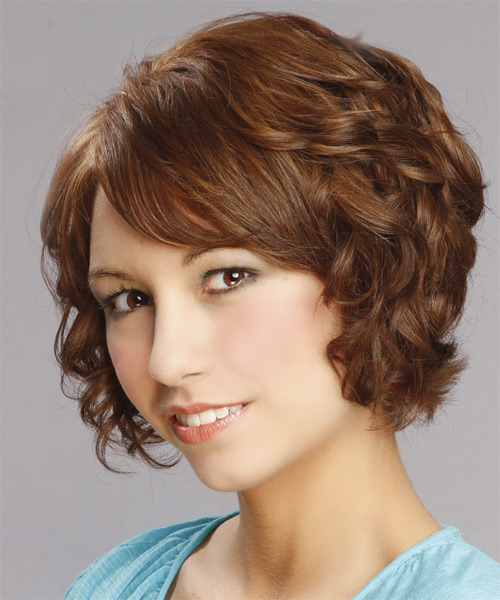 Short Curly Formal    Hairstyle with Side Swept Bangs  -  Auburn Brunette Hair Color with Light Blonde Highlights - Side on View
