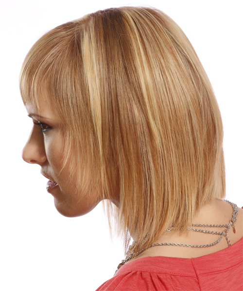 Medium Straight Formal Layered Bob  Hairstyle with Layered Bangs  - Dark Blonde Hair Color with Light Blonde Highlights - Side on View