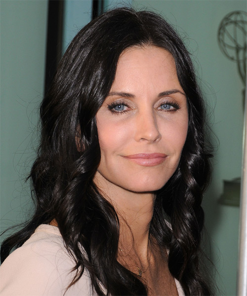 Courteney Cox Long Wavy Casual   Hairstyle   - Black - Side on View