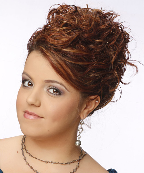 Updo Long Curly Formal  Updo Hairstyle   - Medium Red (Copper) - Side on View