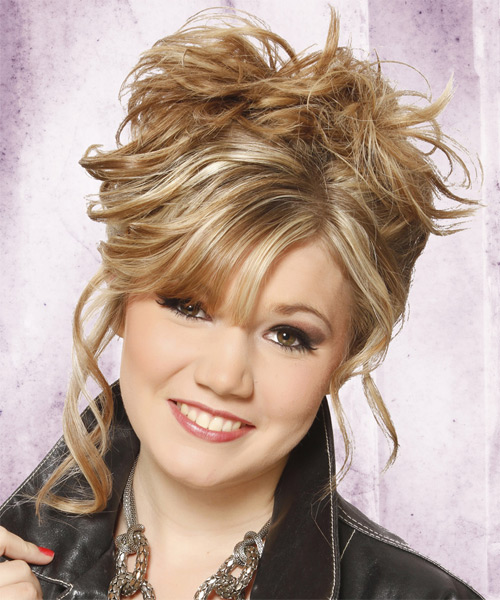 Updo Long Curly Casual  Updo Hairstyle   - Medium Blonde - Side on View