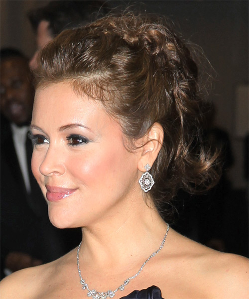 Alyssa Milano  Long Curly Formal   Updo Hairstyle   - Light Brunette Hair Color - Side on View
