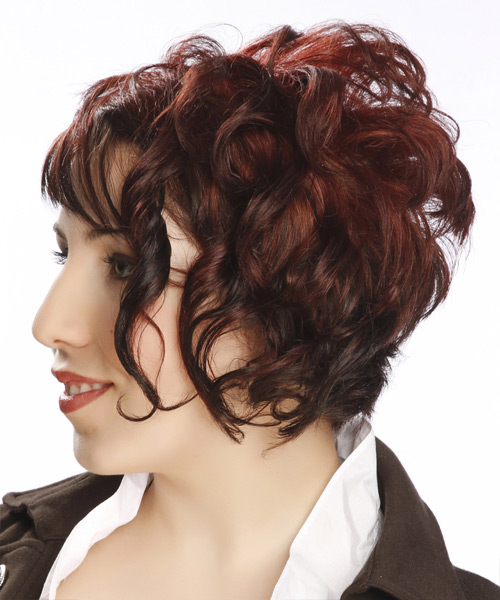 Short Curly   Dark Red Asymmetrical  Hairstyle with Asymmetrical Bangs  - Side on View