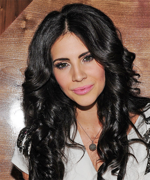 Hope Dworaczyk Long Curly Casual   Hairstyle   - Black - Side on View