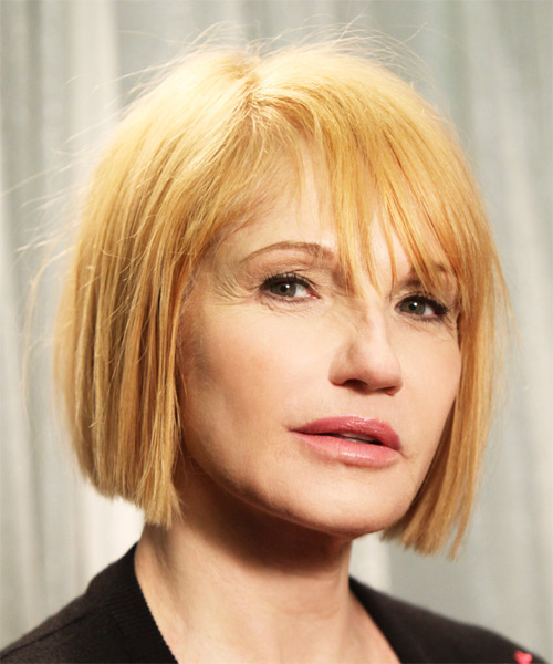 Ellen Barkin Short Straight Casual Bob  Hairstyle with Layered Bangs  - Light Blonde (Strawberry) - Side on View