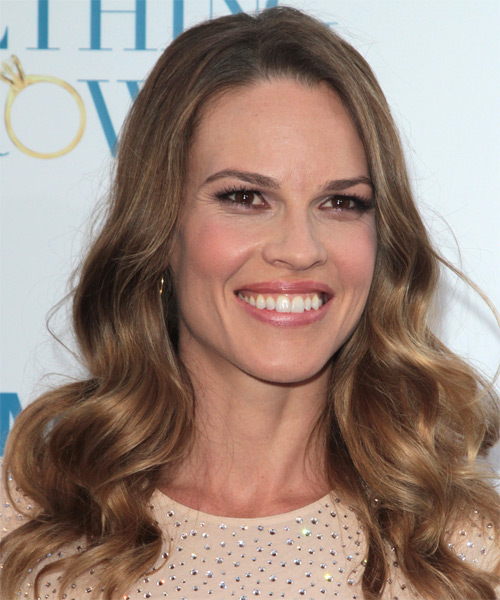 Hilary Swank Long Wavy Formal    Hairstyle   - Light Brunette Hair Color - Side on View