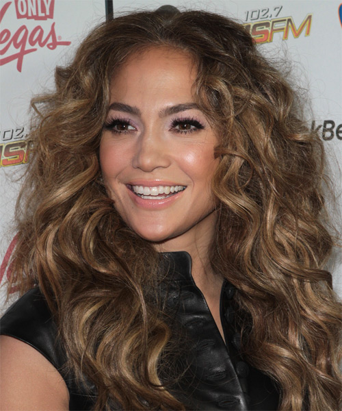 Jennifer Lopez Long Curly Casual    Hairstyle   - Light Brunette Hair Color with Dark Blonde Highlights - Side on View