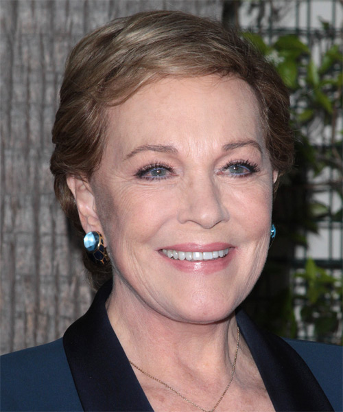 Julie Andrews Short Straight Casual   Hairstyle with Side Swept Bangs  - Light Brunette - Side on View