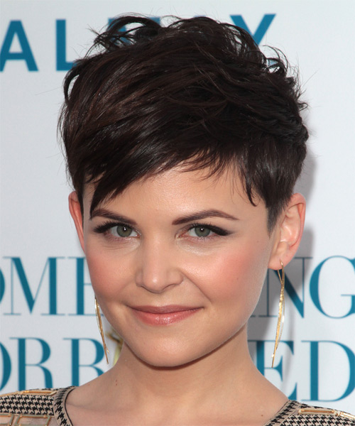 Ginnifer Goodwin   Layered  Dark Brunette Pixie  Cut with Side Swept Bangs  - Side on View