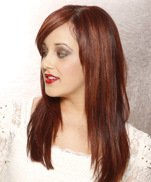 Long Straight Casual    Hairstyle with Side Swept Bangs  -  Auburn Red Hair Color - Side on View