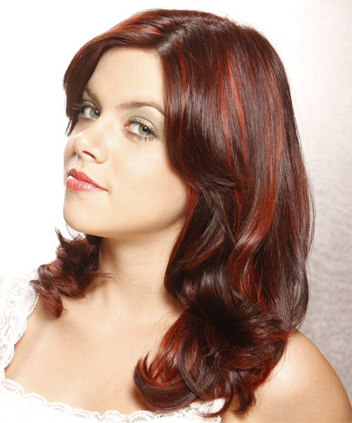 Medium Wavy Formal   Hairstyle with Side Swept Bangs  - Medium Red (Burgundy) - Side on View