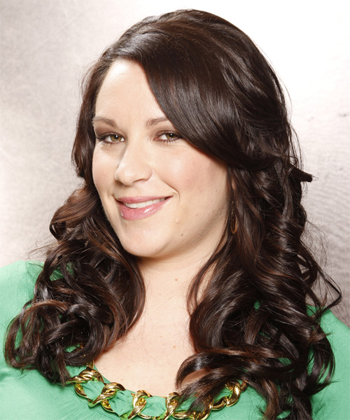 Long Curly Formal   Hairstyle   - Dark Brunette (Chocolate) - Side on View