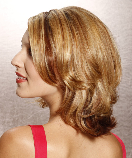 Medium Straight   Dark Golden Blonde   Hairstyle   with Light Blonde Highlights - Side on View