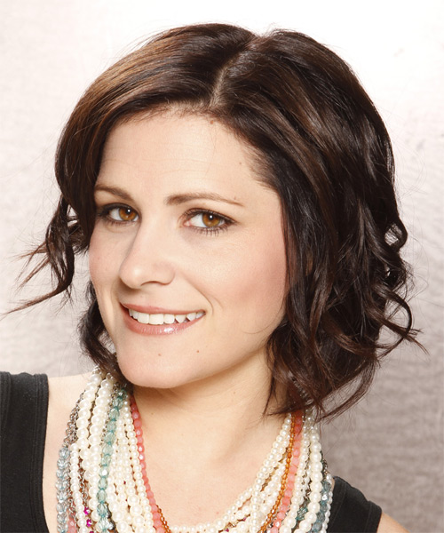 Short Wavy Casual Bob  Hairstyle   - Dark Brunette (Chocolate) - Side on View