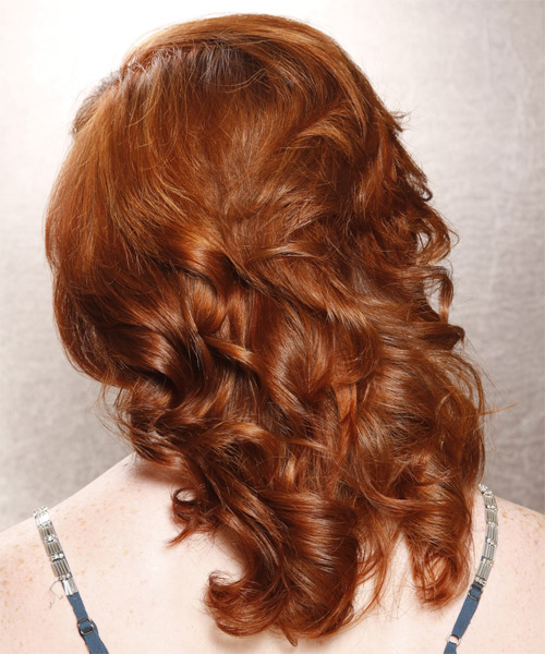 Medium Curly Formal    Hairstyle with Side Swept Bangs  - Copper Hair Color - Side on View
