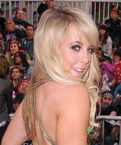 Chelsie Hightower Long Wavy Formal   Hairstyle with Side Swept Bangs  - Light Blonde - Side on View