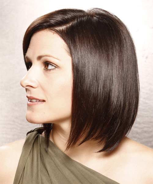 Medium Straight Layered  Dark Brunette Bob  Haircut   with Light Brunette Highlights - Side on View