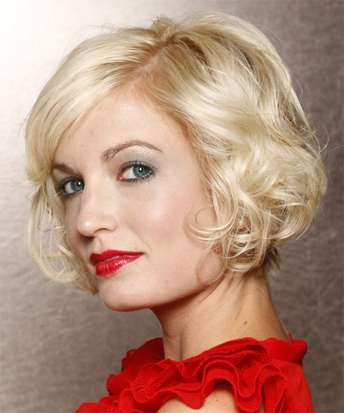 Short Wavy Layered  Light Platinum Blonde Bob  Haircut with Side Swept Bangs  - Side on View