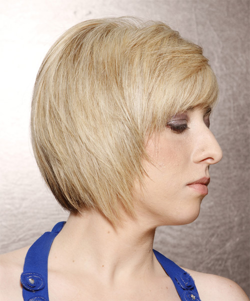 Short Straight   Light Platinum Blonde   Hairstyle with Side Swept Bangs  and  Blonde Highlights - Side on View