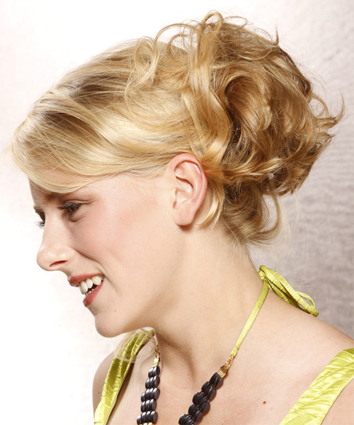 Long Curly Formal   Updo Hairstyle with Side Swept Bangs  -  Golden Blonde Hair Color with Dark Blonde Highlights - Side on View