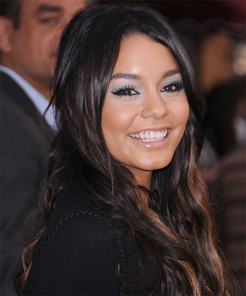 Vanessa Hudgens Long Wavy Casual    Hairstyle   - Dark Brunette Hair Color with  Brunette Highlights - Side on View