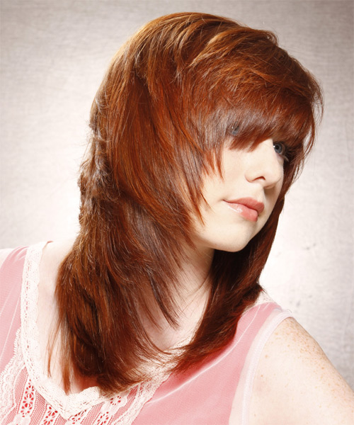 Long Straight Casual    Hairstyle with Layered Bangs  -  Copper Red Hair Color - Side on View