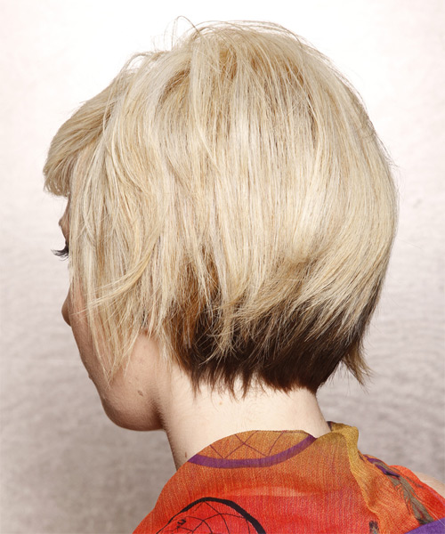 Short Straight   Golden   Hairstyle with Side Swept Bangs  - Side on View