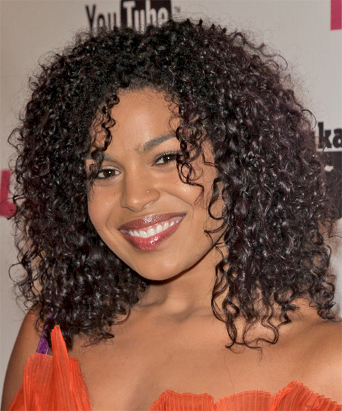 Jordin Sparks Medium Curly   Dark Brunette Afro  Hairstyle   - Side on View