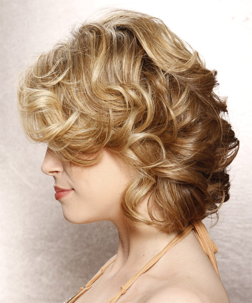 Medium Curly Formal    Hairstyle with Side Swept Bangs  - Medium Blonde Hair Color with Light Blonde Highlights - Side on View