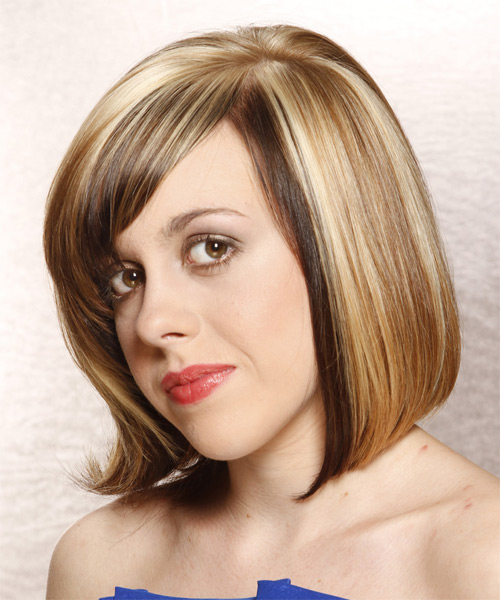 Medium Straight Alternative   Hairstyle with Side Swept Bangs  - Medium Blonde - Side on View