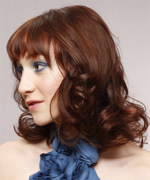 Medium Wavy Formal   Hairstyle with Layered Bangs  - Medium Brunette (Auburn) - Side on View