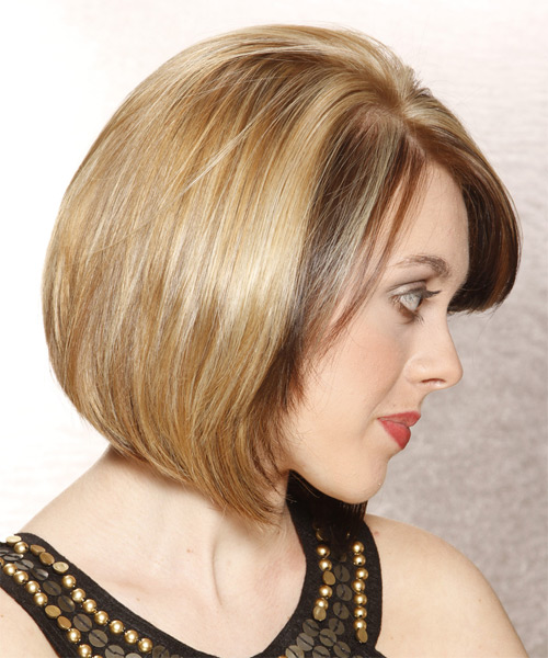 Medium Straight Formal Bob  Hairstyle with Side Swept Bangs  - Medium Brunette - Side on View