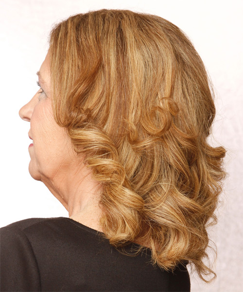 Medium Wavy   Light Copper Red   Hairstyle   with Light Blonde Highlights - Side on View