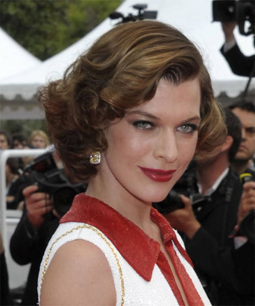 Milla Jovovich Short Curly Formal   Hairstyle   - Light Brunette - Side on View