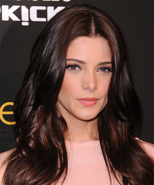 Ashley Greene Long Straight Casual   Hairstyle   - Dark Brunette (Chocolate) - Side on View